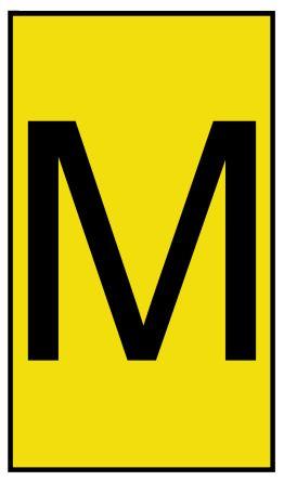 HellermannTyton Ovalgrip Slide On Cable Marker, Pre-printed M Black on Yellow 1.7 → 3.6mm Dia. Range