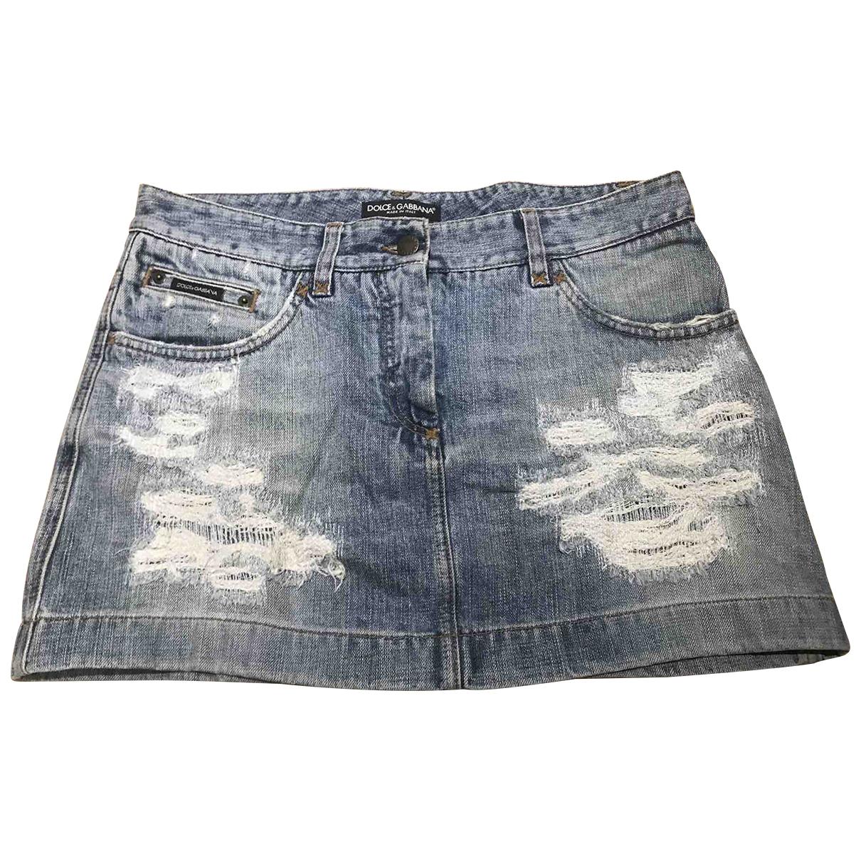 Dolce & Gabbana \N Blue Denim - Jeans skirt for Women 44 IT