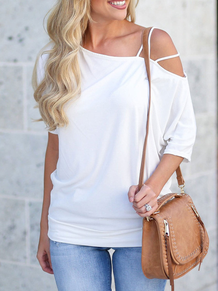 Milanoo Short Sleeves Tees White One Shoulder Cotton T Shirt For Women