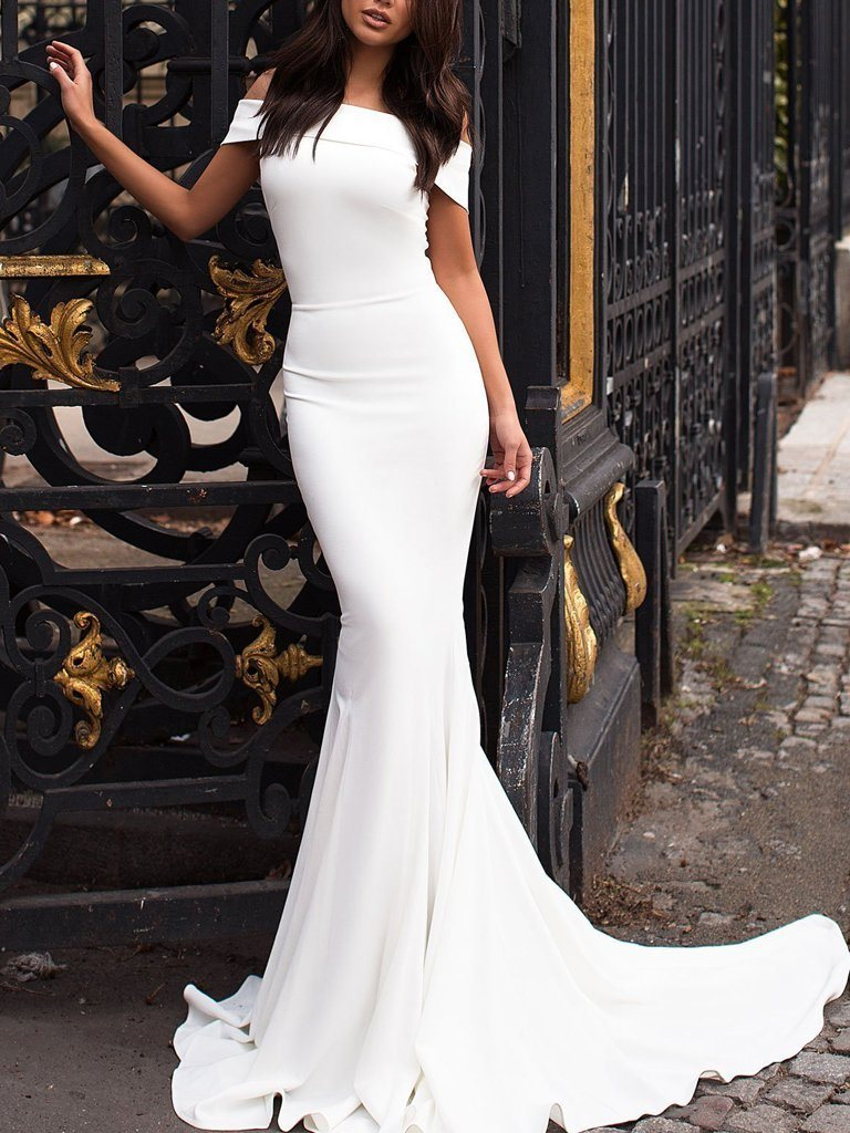 Ericdress Trumpet Floor-Length Short Sleeves Evening Dress