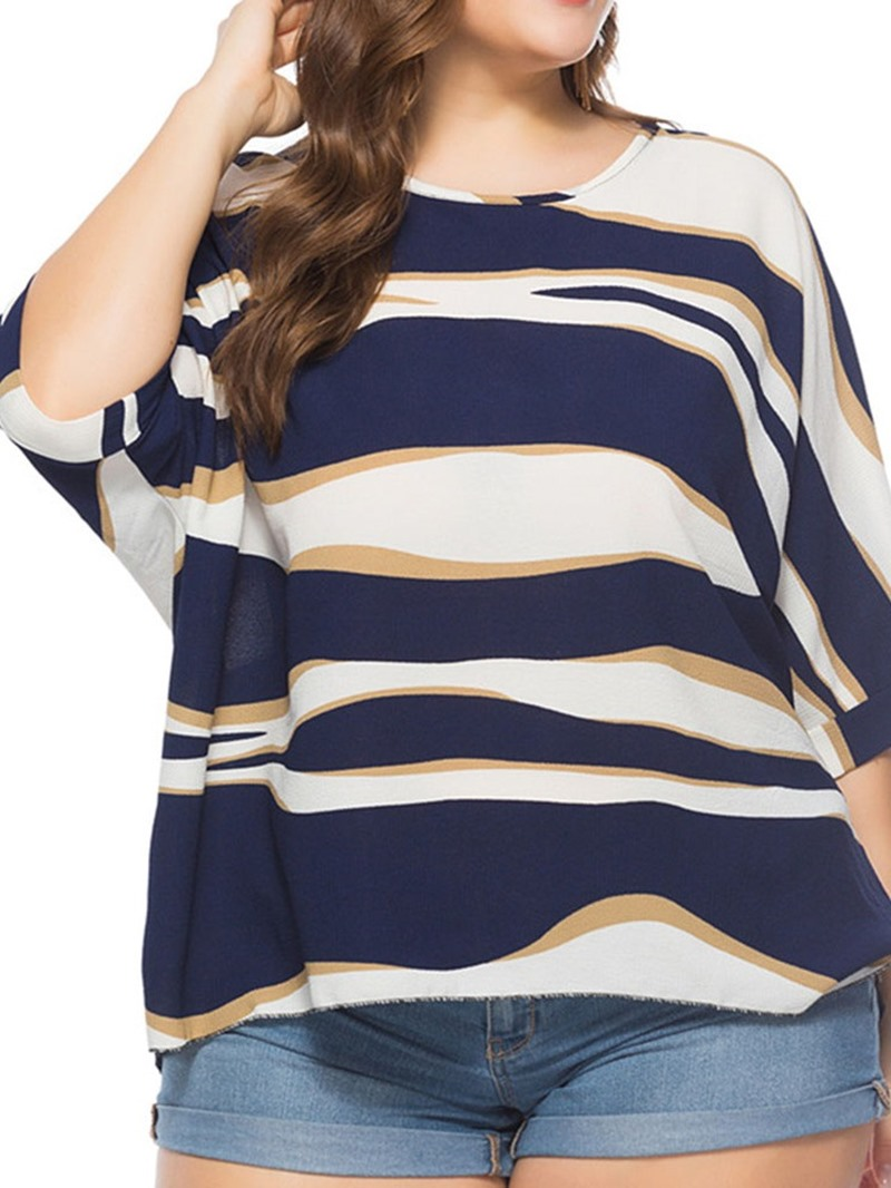 Ericdress Plus Size Round Neck Color Block Loose T-Shirt