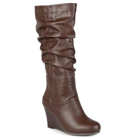 Journee Collection Womens Hana Wide Calf Slouch Wedge Heel Boots, 8 1/2 Medium, Brown