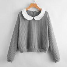 Peter Pan Collar Waffle Knit Sweater