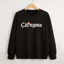 Plus Floral And Letter Graphic Drop Shoulder Sweatshirt