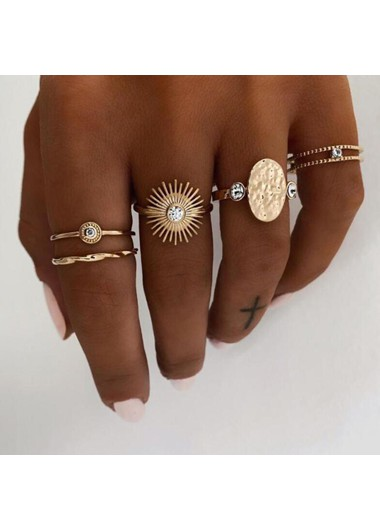 Mother's Day Gifts 5pcs Sun Stack Pattern Metal Ring Set - One Size