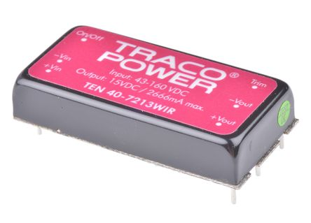 TRACOPOWER TEN 40WIR 40W Isolated DC-DC Converter Through Hole, Voltage in 43 → 160 V dc, Voltage out 15V dc
