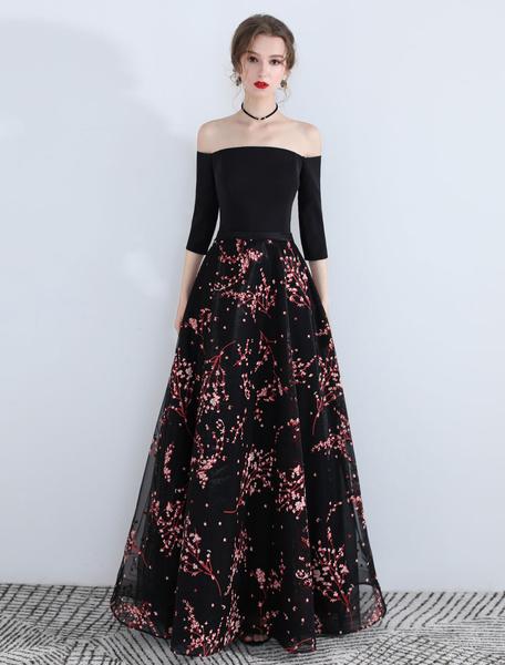 Milanoo Vestidos de baile largos del vestido de noche formal de la longitud del piso de la impresion floral del hombro