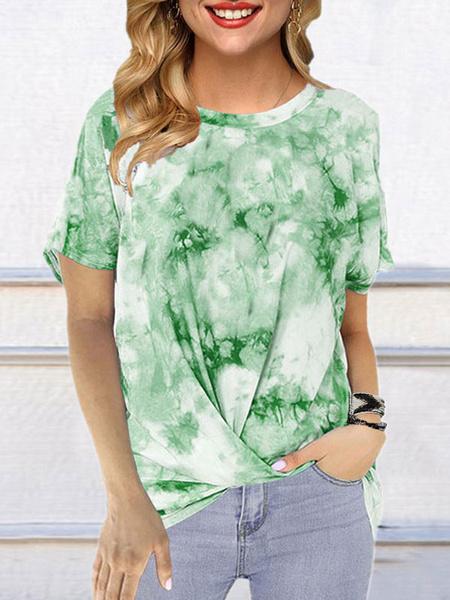 Milanoo Camiseta de manga corta con cuello redondo y cuello redondo para mujer