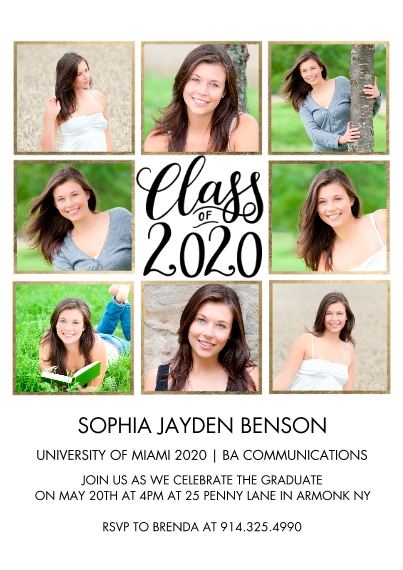 2020 Graduation Announcements Flat Glossy Photo Paper Cards with Envelopes, 5x7, Card & Stationery -2020 Class of Collage by Tumbalina