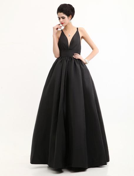 Milanoo Celebrity Dresses Black Oscar Evening Dress Straps Backless Deep V Taffeta Dress