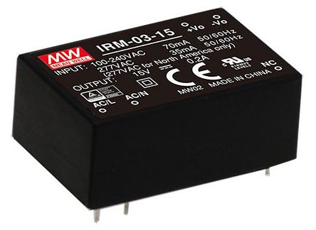 Mean Well , 3W Encapsulated Switch Mode Power Supply, 15V dc, Encapsulated