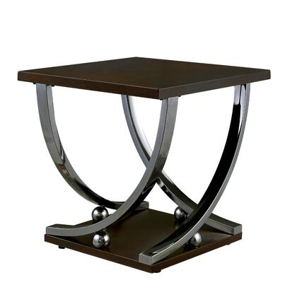 BM187125 Contemporary Style Wooden End Table with Curled Metal Feet  Brown and