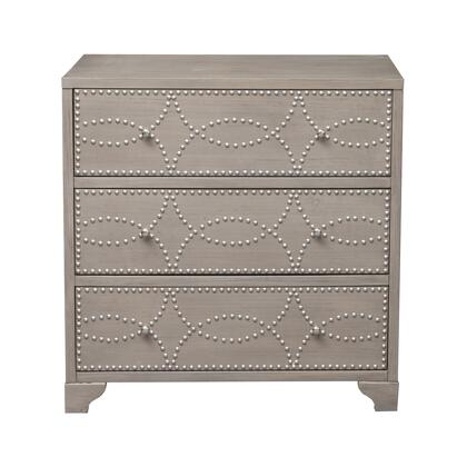HF-ST153-001 Three Drawer Brushed Nickel Nail Head Accent Chest In