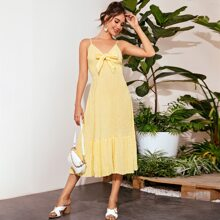 Tie Front Flippy Hem Shirred Cami Dress