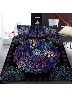 Purple Totem Bohemian Style 3D Printed Polyester 1-Piece Warm Quilt