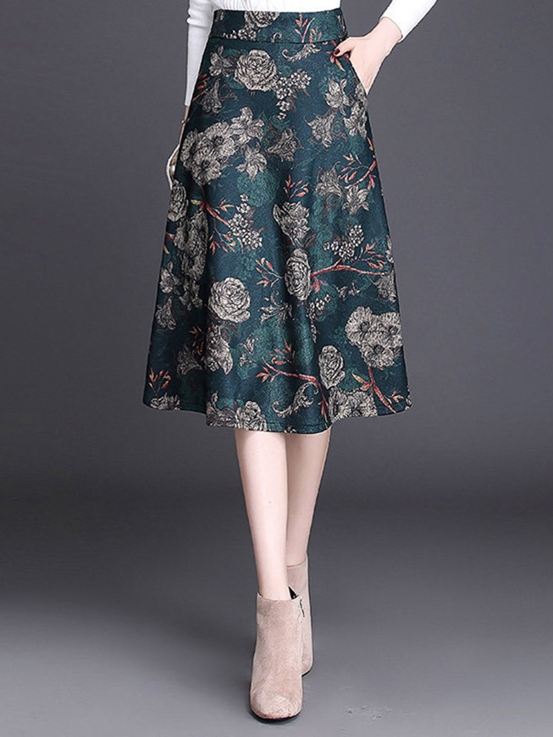 Ericdress A-Line Floral Print Fashion Skirt