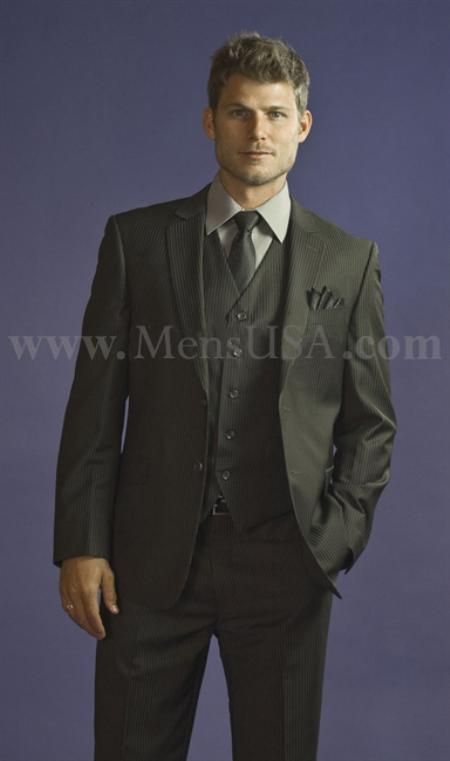 2 Button 3 Piece Charcoal Pinstripe Fitted affordable suit online sale