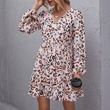 Kleid mit Laternenaermeln und Leopard & Blumen Muster