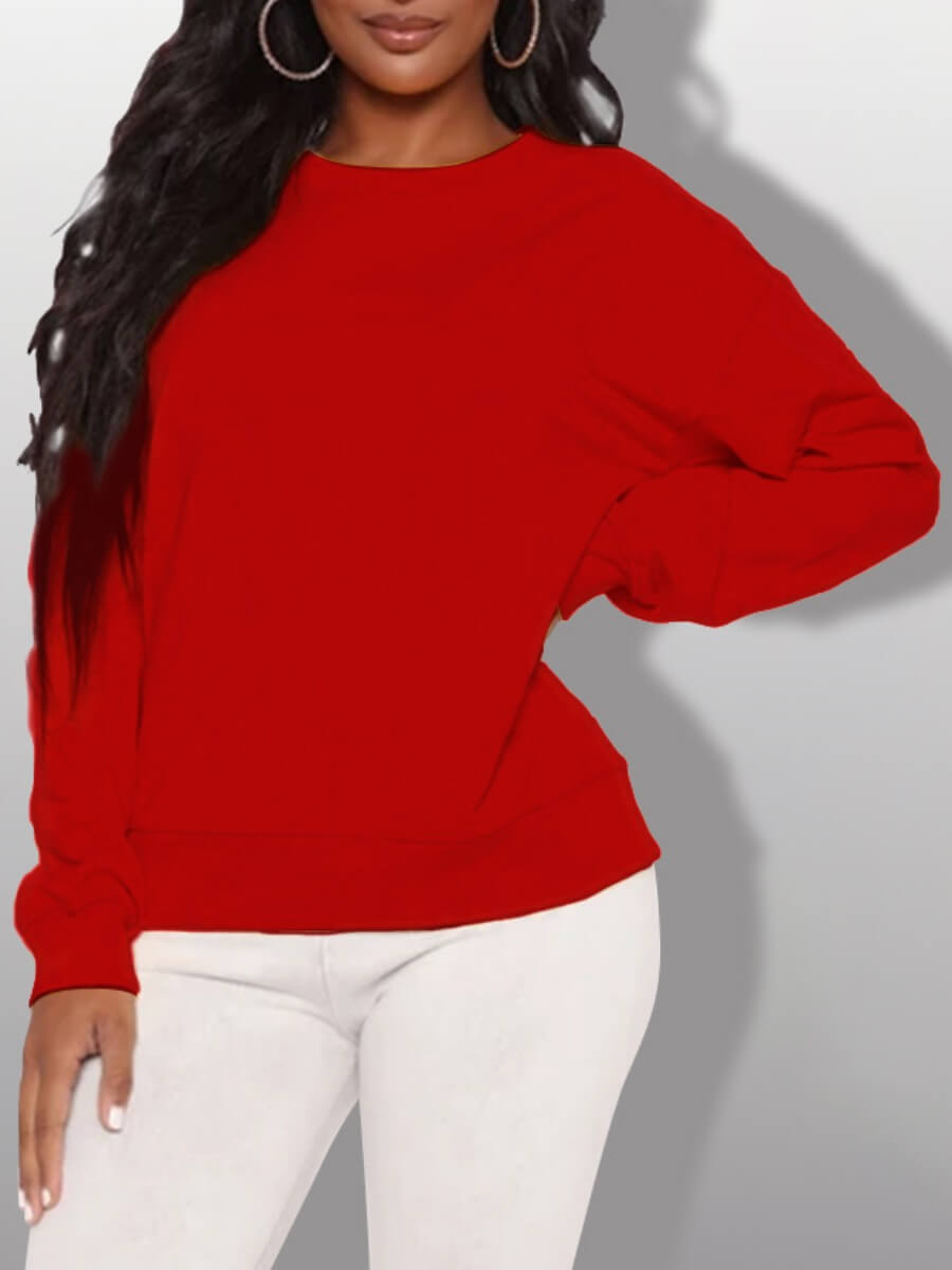 LW Lovely Casual O Neck Basic Red Hoodie