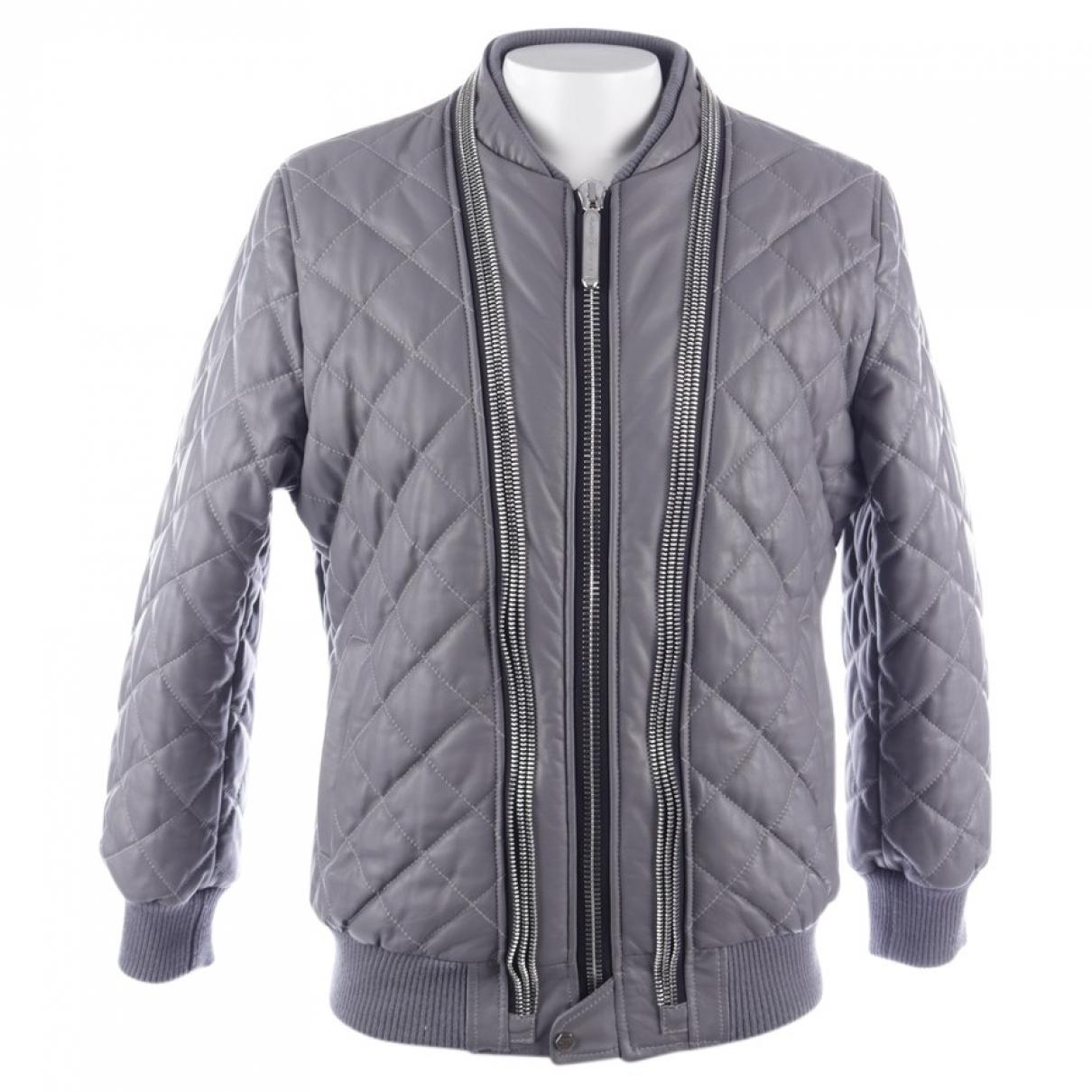 Philipp Plein \N Grey Leather jacket for Women XXL International