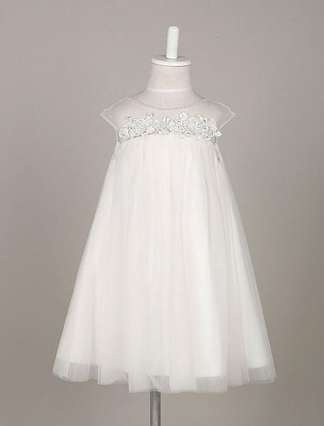 Milanoo Flower Girl Dresses Boho  Tulle Lace Illusion A Line Toddler's Dinner Swing Dress