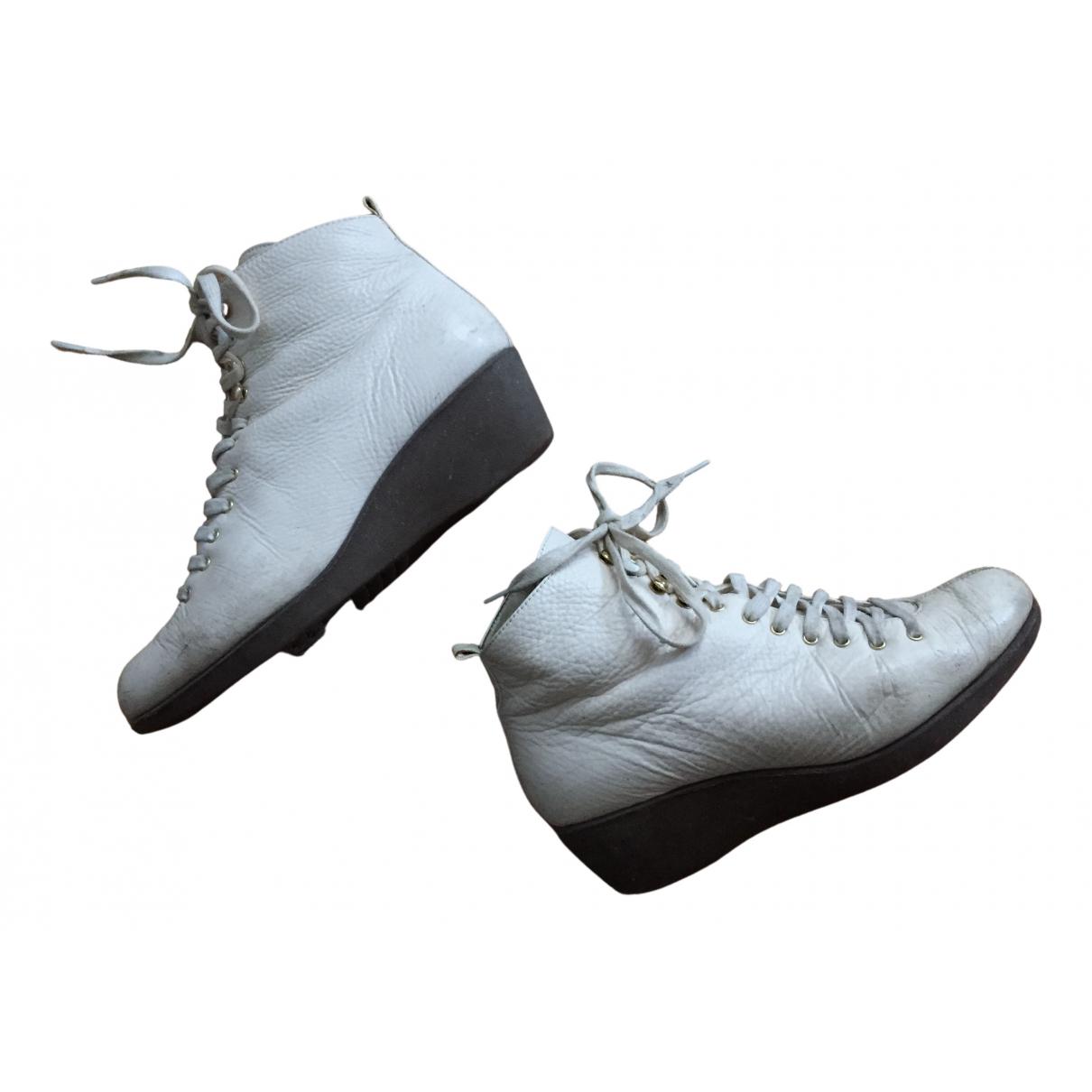 Flip Flop - Boots   pour femme en cuir - blanc