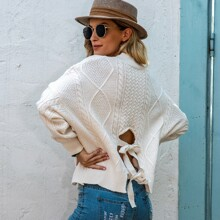 Tie Back Cable Knit Oversized Sweater