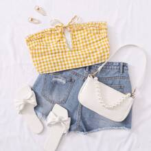 Tie Front Frill Trim Plaid Tube Top