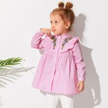 Toddler Girls Floral Embroidery Striped Ruffle Trim Blouse