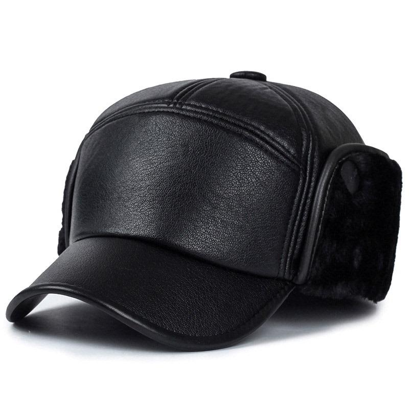 Ericdress Bomber Leather Plain Winter Men's Hats