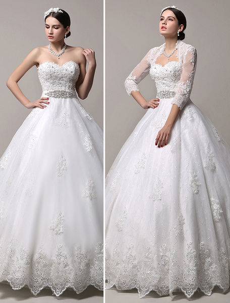 Milanoo Princess Wedding Dresses Strapless Sweetheart Neckline Bridal Dress Rhinestones Beaded Floor Length Wedding Gown With Jacket Long Sleeve
