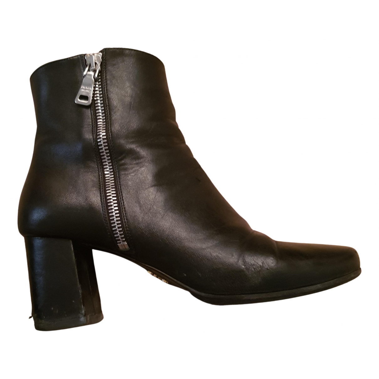 Prada N Black Leather Ankle boots for Women 37 EU