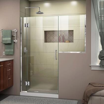 D1263034-01 Unidoor-X 62-62 1/2 W X 72 H Frameless Hinged Shower Door In