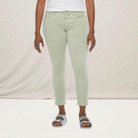 a.n.a - Petite Womens Skinny Ankle Jean, 10 Petite , Green