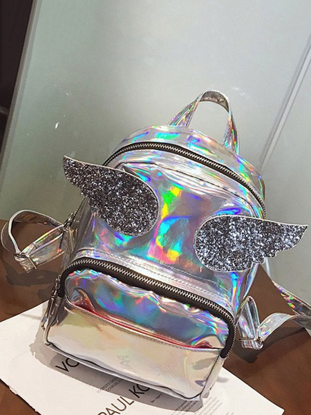 Milanoo Casual Lolita Backpack Laser Sequin Angle Wing PU Rose Red Lolita Bag