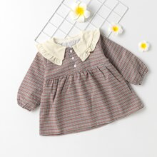 Toddler Girls Contrast Doll Collar Plaid Smock Dress