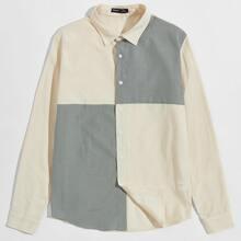 Men Button Front Colorblock Shirt