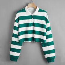 Zweifarbiger Crop Pullover mit Streifen
