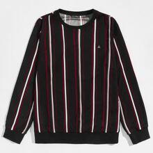 Pullover mit Laecheln Flicken und Streifen
