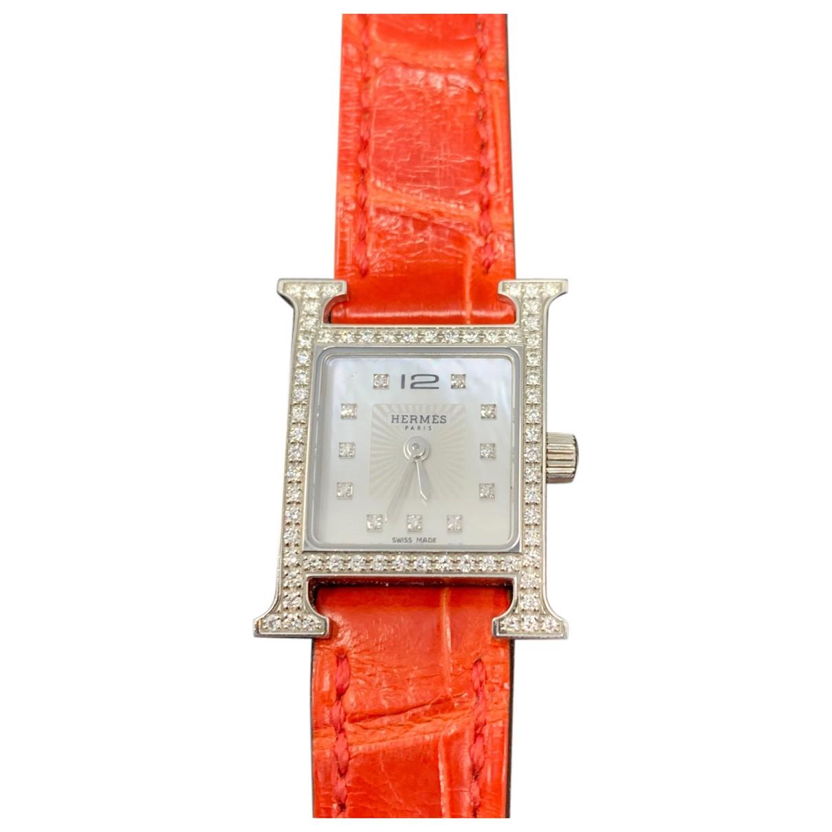Hermes - Montre Heure H pour femme en acier - rouge