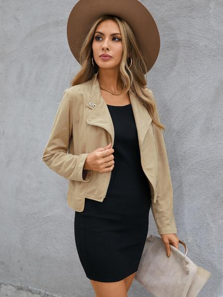 YOINS Khaki Button Design Lapel Collar Long Sleeves Jacket