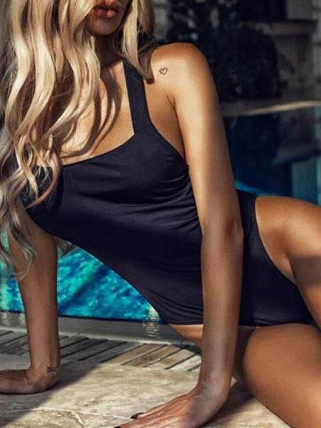 Milanoo One Piece Swimsuit Cross Back Sexy Swimswear For Women