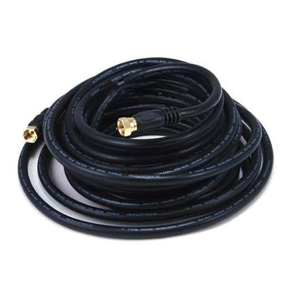 Câble coaxial RG6 (18AWG) 75Ohm, blindé, CL2 avec connecteur type F – noir – (9 longueurs) - 25pi