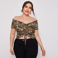 Plus Lettuce Edge Drawstring Front Bardot Crop Top