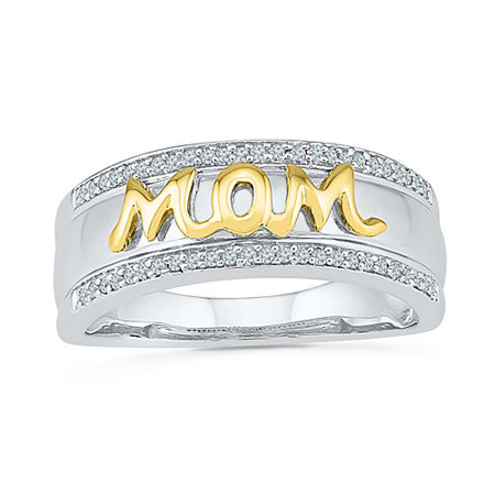 Womens 1/6 CT. T.W. Genuine White Diamond 10K Gold Over Silver Cocktail Ring, 6 , No Color Family