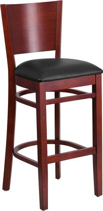 XU-DG-W0094BAR-MAH-BLKV-GG Lacey Series Solid Back Mahogany Wooden Restaurant Bar stool - Black Vinyl