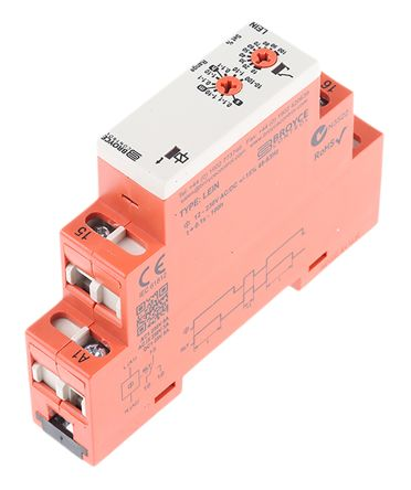 Broyce Control SPDT Timer Relay - 0.1 s → 100 h, 1 Contacts, Interval (One Shot), DIN Rail