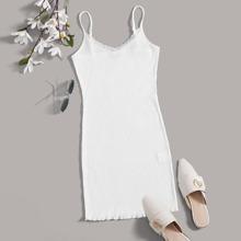 Weiss Durchsichtige Spitze Einfarbig Elegant Kleider