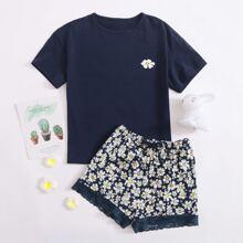 Girls Daisy Floral Top & Lace Hem Shorts PJ Set