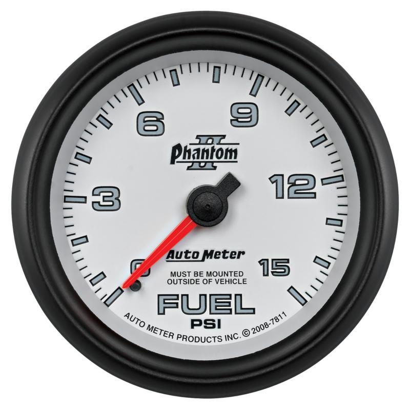 AutoMeter GAUGE; FUEL PRESSURE; 2 5/8in.; 15PSI; MECHANICAL; PHANTOM II